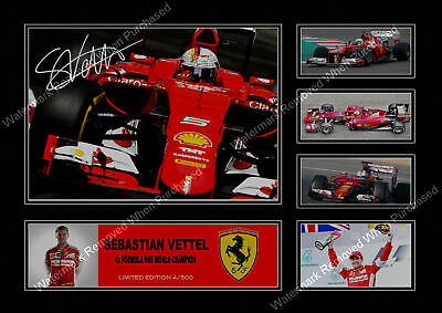 Sebastian Vettel F1 Ferrari Signed Limited Edition A4 Photo Print