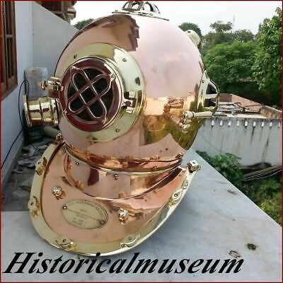 Reproduction U.s Navy Hm682 Mark V Solid Copper & Brass Divers Helmet