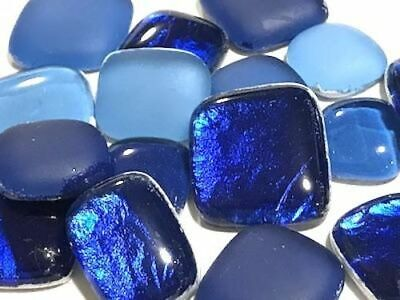 Blue Mixed Glass Pebbles / Stones for Mosaic Art Craft Supplies