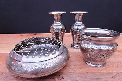 Vintage Silver Plated Flower Vases Posy Bowl Decorated Ornaments X 4 Bargain