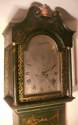 "Antique Green Lacquered ""  London  "" Longcase / Grandfather Clock"