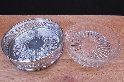 Vintage English Silver Plated Wine Holder Coaster With Star Glass Liner 9Cm Dia