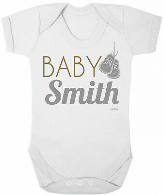 Personalised BABY GROW Boys Girls Name Shoes Funny Bodysuit Baby Shower Gift