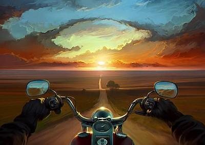 MOTORBIKE ON SUNSET HIGHWAY POSTER Wall Art Photo Print Poster A3 A4