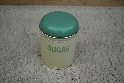 Vintage Enamel sugar tin green and cream worcester ware england