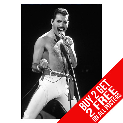 Freddie Mercury Queen Bb1 Poster A4 A3 Size Print - Buy 2 Get Any 2 Free
