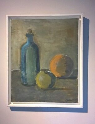 Signed Original Contemporary Oil Painting Still Life Bottle Apple & Orange
