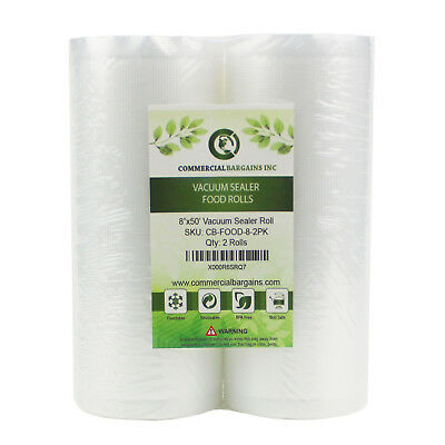 "2 Large Commercial Bargains 8"" x 50' Vacuum Food Sealer Saver Rolls Bags Freezer"