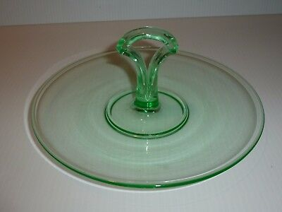 Vintage Green Depression Glass Small Center Handle Tray