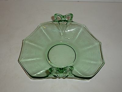 Vintage Green Depression Glass Curved Mint Dish, Bowknot Handles