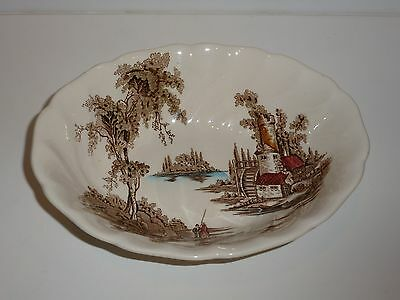 Vintage Johnson Brothers England The Old Mill Oval Serving Bowl