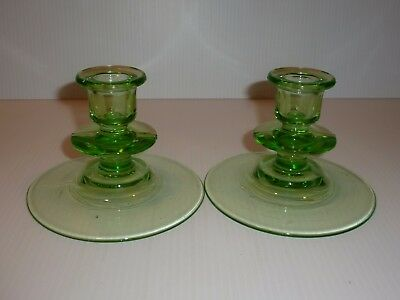 Stunning Vintage Pair Green Depression Glass Taper Candle Holders