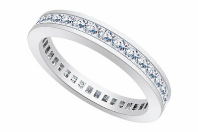 3MM 925 Sterling Silver Princess Cut Eternity Cubic Zirconia Ring