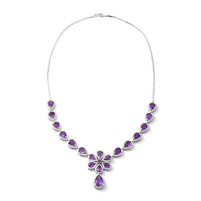 4c856f0a8d48 Women s 925 Sterling Silver Platinum Plated Pear Amethyst Necklace 18