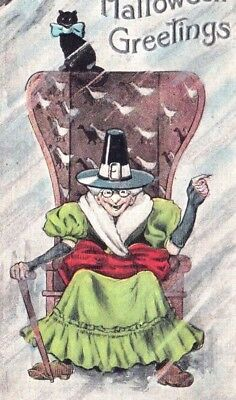 Antique Halloween Postcard H M Rose Co. TRC Witch in Chair Cane Black Cat 1909