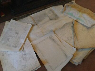 Large Roll Of Old Maps. Vintage. Antique. Job Lots & Lots. Ordinance Survey #10