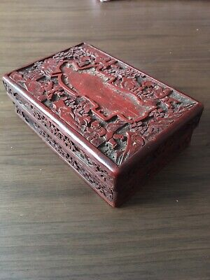 ANTIQUE FINE 19th C CHINESE CINNABAR LACQUER BOX