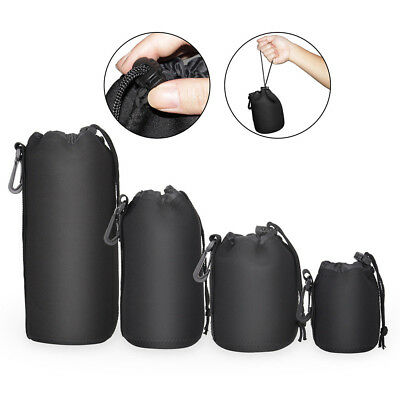 4PCS  S/M/L/XL Set DSLR Camera Soft Lens Covers Pouch Protector Padded Bag