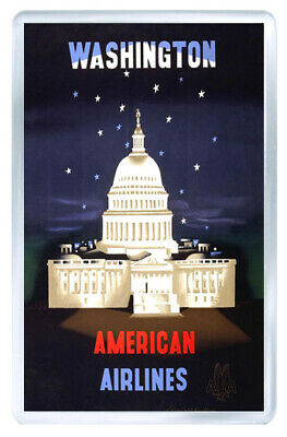 Washington American Airlines Vintage Repro Fridge Magnet Souvenir Iman Nevera