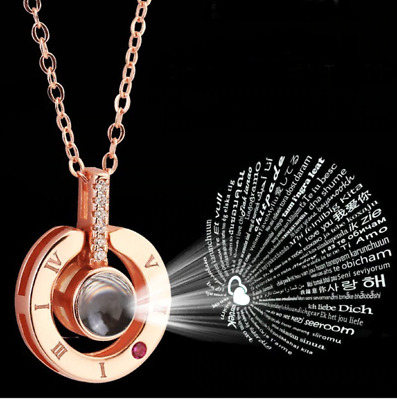 Rose Gold and Silver Plated Necklace that says i love you in 100 languages