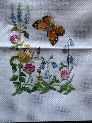 """Completed Cross Stitch - Flowers & Butterfly Design 4.75"""" x 6.75"""""""