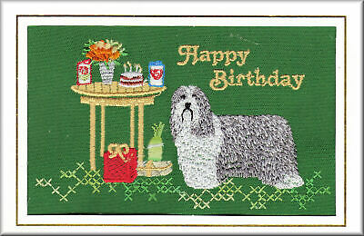 Bearded Collie Birthday Card Embroidered by Dogmania - Free Personalisation