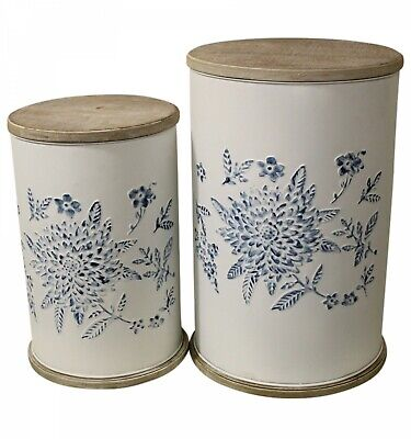 ~ Floral ~ Drum Table SET White Blue Hamptons Metal Timber Side/Coffee/Bedside