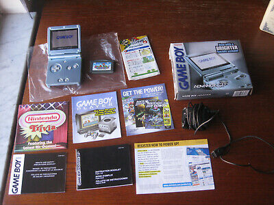 Complete Game Boy Advance SP AGS-101 Pearl Blue w/Box, Manual, Charger, Game
