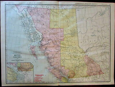 Detailed Map Of Canada.Canada British Columbia Comox Atlin 1913 Huge Rand Mcnally Detailed Province Map