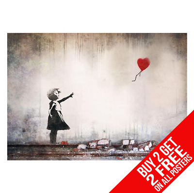 Banksy 'Girl With The Red Balloon' Poster Print A4 A3 - Buy 2 Get Any 2 Free