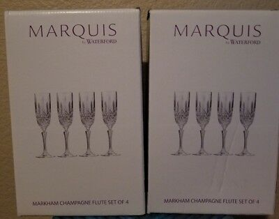 BEAUTIFUL 8 Piece Marquis by Waterford Markham Champagne Flutes New in Box!