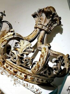 Crown Bed Canopy With Hooks  Antique French Chateaux Style Aged Look, Rococo