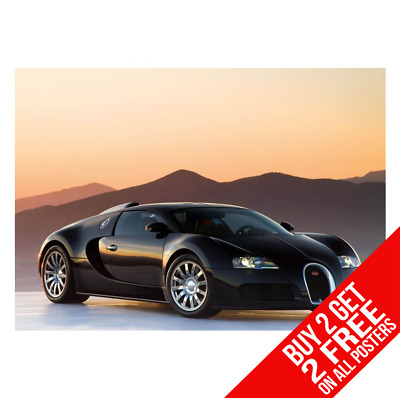 Bugatti Veyron Chiron Supercar Poster Art Pic Print A4 A3 - Buy 2 Get Any 2 Free
