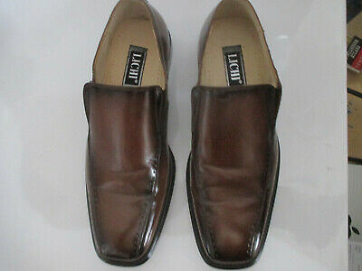 LICHI BROWN LEATHER SHOES 9 / 43 New with box and covers.