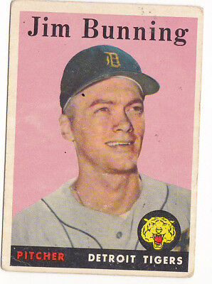 1958 Topps #115 Jim Bunning - Detroit Tigers, Very Good - Excellent Condition
