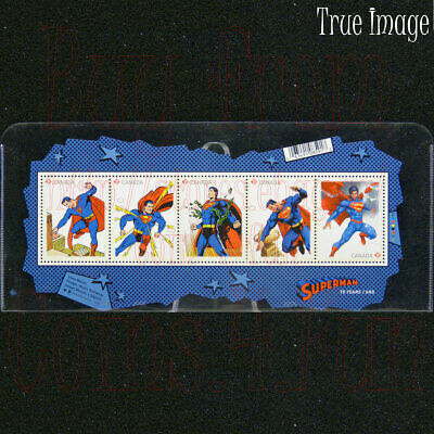 2013 Superman 75th Anniversary Souvenir 5-Stamp Sheet in Plastic Pouch Canada