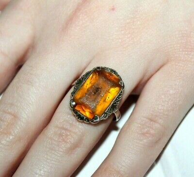 Faberge design Antique Russian 84 silver  RING with Stone 19th century