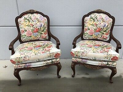 Pair French Country Floral Upholstered Chairs