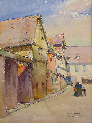 Jacques SIMON (1875-1965) View Lisieux 1913 Calvados Normandy country d'Auge