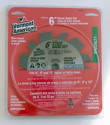 "Vermont American 6"" Stack Dado Blade Set 26741 Radial Table Circular Saw 8 9 10"""