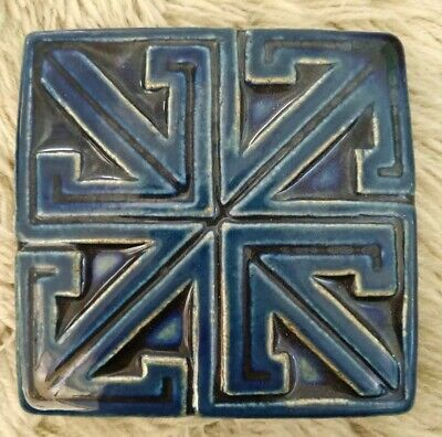 Motawi Tileworks 4x4 Geometric Blue White Handmade Art Tile - Perfect Condition