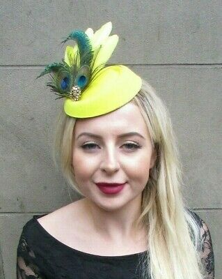 Yellow Green Gold Peacock Feather Pillbox Hat Hair Clip Fascinator Races 7004