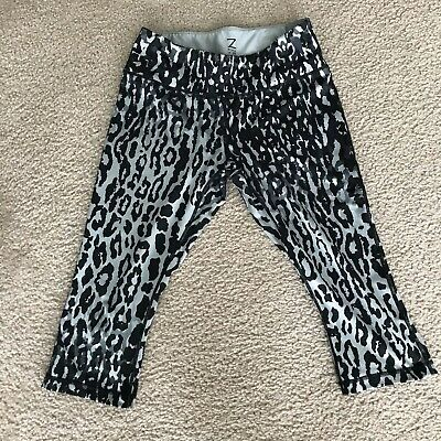 f5aae442b2f5 Z Zella Women's Grey Leopard Animal Print Cropped Athletic Leggings Pants M  EUC