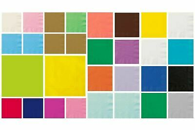 Luncheon Napkins 33cm  Party Tableware Plain Solid Colours Events Catering