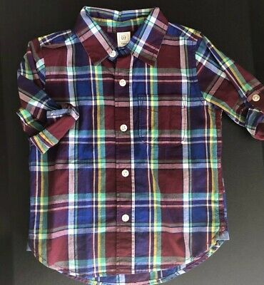 Baby Gap Toddler Boys 2 Years Red Delicious Plum Plaid Button-Down Shirt EUC