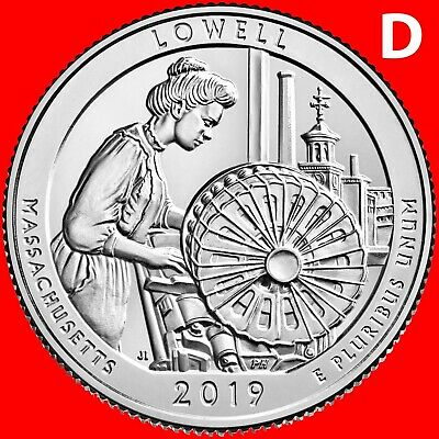2019-D Lowell National Park (Ma) Uncirculated Quarter From Mint Roll