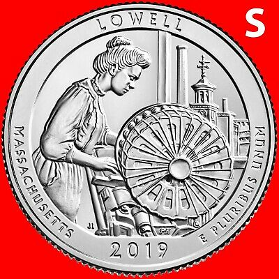 2019-S Lowell National Park (Ma) Uncirculated Quarter From Mint Roll