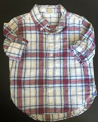 Baby Gap Toddler Boys 18-24M White Red Plaid Convertible Button-Down Shirt EUC
