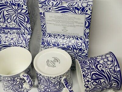 Palace Fine Bone China Tea Coffee Cup Stoke-On-Trent England set4 Blue and White
