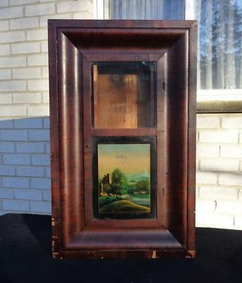Smith's Weight Driven Woodworks Shelf Mantle Clock Case Painted Glass Restore